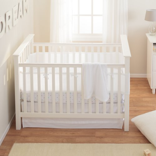 Breathablebaby safety crib bedding set white mist 3 for Best value baby crib
