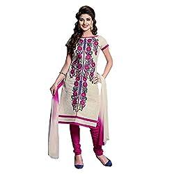 Paridhan Women'S Cream Cotton Embroidered Suit 001