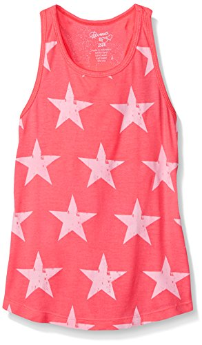 Flowers by Zoe Big Girls Tank Top with Stars, Coral, Medium