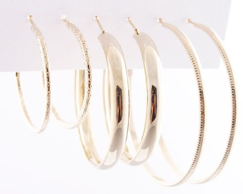 Ladies Gold Three Pairs of Designed Dangle Hoop Earrings