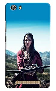 Omnam Girl Playing With Arrow Printed Designer Back Cover Case For Gionee Marathon M5 Lite