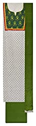 Sanskriti Women's Cotton Unstitched Dress Material (White and Green)