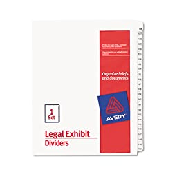 Avery Allstate-Style Legal Side Tab Dividers, 25-Tab, 126-150, Letter, White, 25/Set