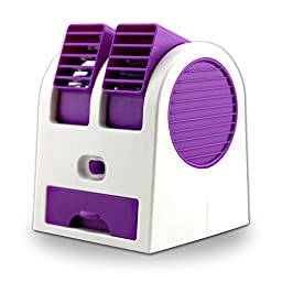 New Frabgrance Adjustable Angles Dual Air Outlet Fan USB Electric Air Conditioning Fan Cooling Desktop Portable Bladeless Blower Mini Cooler Fan with USB Socket Battery and Safety Switch Chip (Purple)