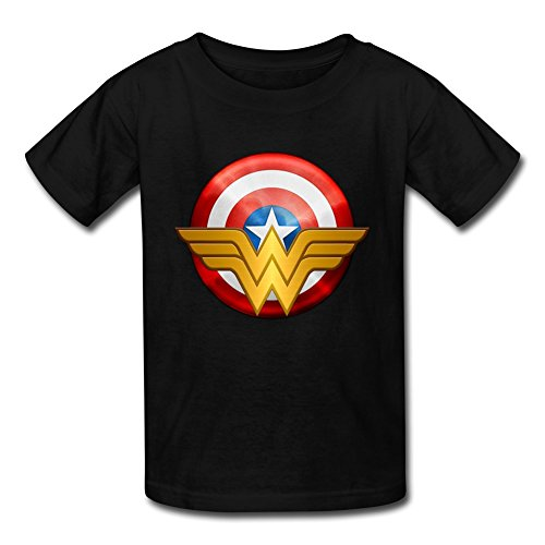 Kid's Vintage Captain America Wonder Woman Logo T-shirts By Mjensen