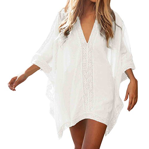 SUNNOW® Womens Sexy V-neck Loose Beach Beach Dress Swimwear Cover-up (One size, White)