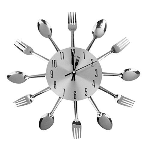 Tinksky Orologio da parete forchetta cucchiaio per la decorazione della sala da pranzo cucina (argento)