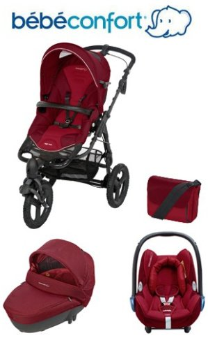 Bebe-Confort-Trio-Travel-System-High-Trek-Windoo-CabrioFix-with-FamilyFix-Base-Robin-Red