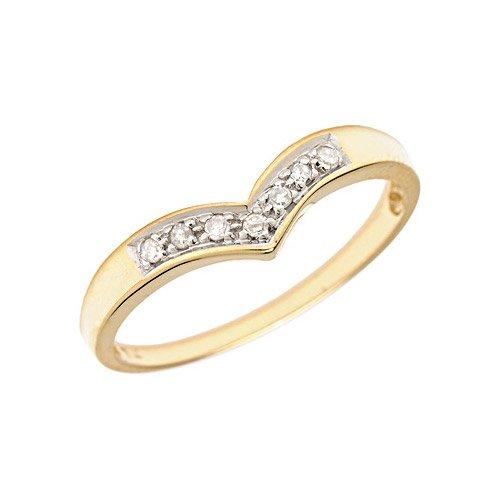10K Yellow Gold Diamond Chevron Ring (Size 10)