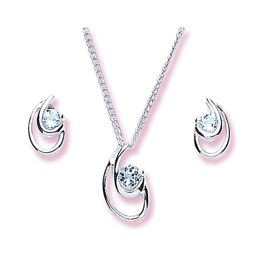 Chic Silver Blue Topaz Fancy Pendant and Earring Set with 46cm Chain