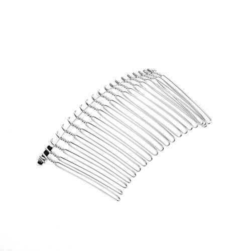 Pixnor 20 teeth diy metal wire hair clip comb bridal for Metal hair combs for crafts