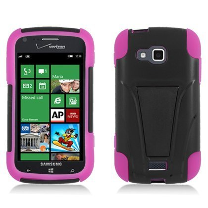 Click to buy Aimo SAMI930PCMSK005S Durable Rugged Hybrid Case for Samsung ATIV Odyssey i930 - 1 Pack - Retail Packaging - Black/Hot Pink - From only $16.69