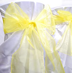 "9"" x 10 ft Organza Sash Bow Wedding Party Chair Bow Decoration - 6 pieces (Yellow)"