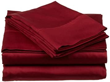 sheetsnthings 450 Thread Count Solid Burgundy Cal king Unattached Waterbed Sheet set 100% Egyptian Cotton 4pc Sheet set deep pocket 450TC at Sears.com