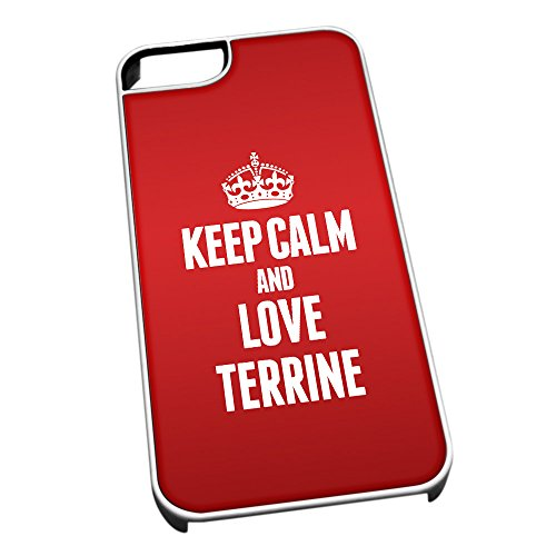 Coque pour iPhone 4/4S Blanc 1610rouge Keep Calm and Love Terrine