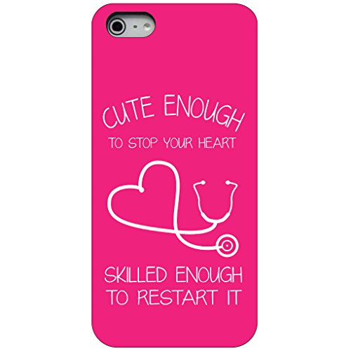 CUSTOM-Black-Hard-Plastic-Snap-On-Case-for-Apple-iPhone-5-5S-Hot-Pink-Nurse-Stethoscope-Heart