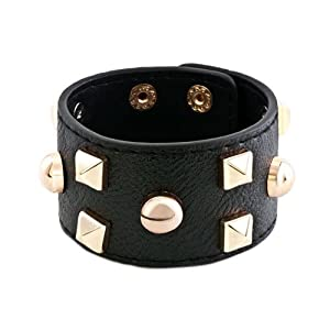Pugster Stainless Steel Studded Black Leather Cuff Bracelet
