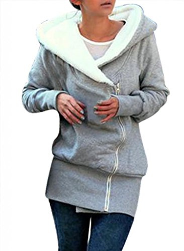 Minetom Damen Herbst Winter Jacke Hooded Mantel Kapuzen Pullover Sweatshirts Pulli(Grau M)