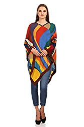 The Knit Factory Women's Acrowool Cape (8001C, Blue, Yellow, Brown, Free Size)