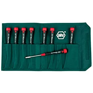 Wiha 26593 Nut Driver Set, Inch with Precision Soft PicoFinish Handle in Pouch, 8 Piece