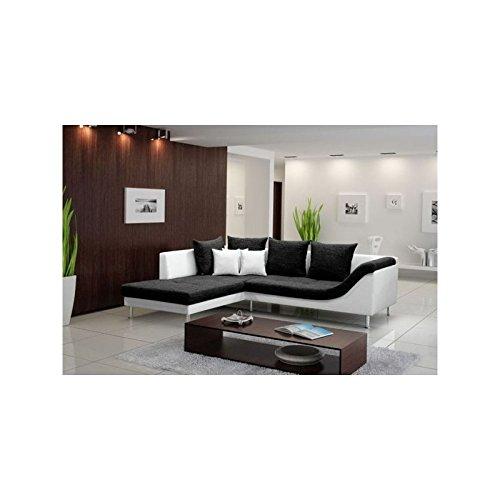 Canapé d'angle 4 places ARAGON - Noir et blanc
