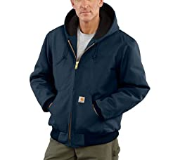 Carhartt Men's Quilted Flannel Lined Duck Active Jacket J140,Dark Navy,X-Large