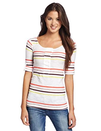 Unionbay Juniors Urban Stripe Mason Double Button Henley Shirt, White, Small