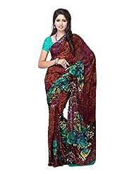Fabdeal Brown Georgette Printed Saree Sari Sarees
