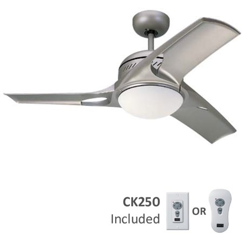 Monte Carlo 3MTR38TMO-L Mach Two 38-Inch 3-Blade Ceiling Fan with Remote and Light Kit, Titanium Finish