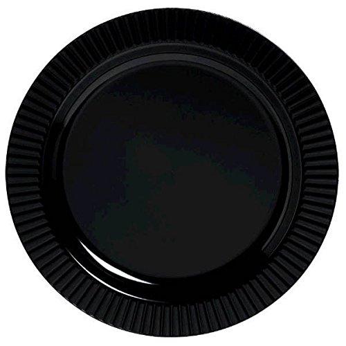 """Amscan Jet Round Premium Plastic Plates, 10 1/4"""", Black - 1"""