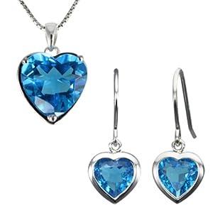 Ocean's Heart-Shaped Blue Cubic Zirconia Silver Pendant & Earrings Set (8.5 ct) (No Chain)