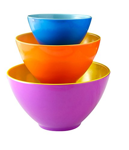iEnjoyware Melamine Mixing Bowls - Set of 3 - Mix, Prep & Store Foods with Ease - Two-Tone Nesting Design for Easy Storage - Colorful & Fun (Bright Spring Measuring Spoons compare prices)