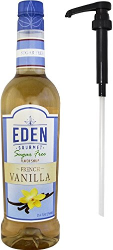 Eden Gourmet - French Vanilla Sugar Free Naturally Flavored Syrup 750ml bottles - Pump included (Vanilla Syrup For Soda Pump compare prices)