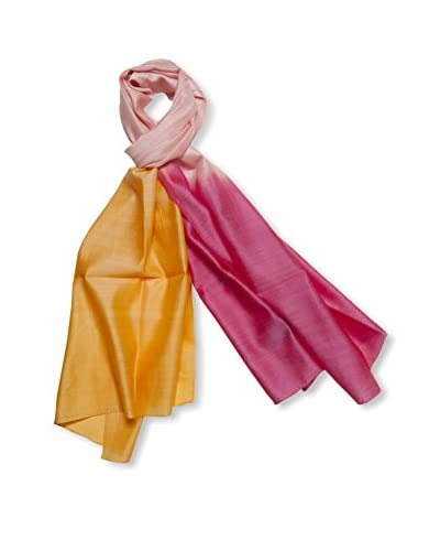 a & R Cashmere Women's Handmade Natural Silk & Wool Ombre Wrap, Begonia/Hermes