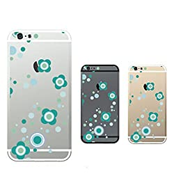 Hamee Designer Case from Japan Clear Protective Plastic Hard Cover for iPhone 6 / 6s (Flower Design / Blue x Green / Clear)