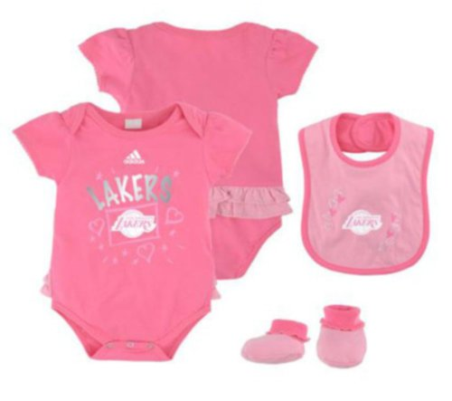 Adidas Los Angeles Lakers Nba 3 Piece Creeper, Bib, Booties Girls Pink Set, Infant/Newborn Size (6/9M) back-1009340