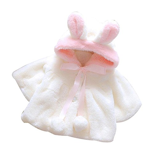 Ecosin Baby Infant Girls Fur Winter Warm Coat Cloak Jacket Thick Warm Clothes (9Months, White)