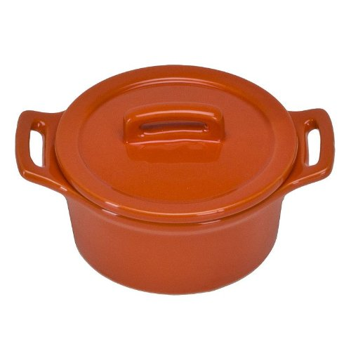 Omniware Mini Round Baker with Lid, Orange, Set of 2 (5 oz Each)