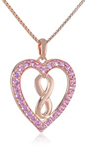 """Sterling Silver with Pink Gold Plating Created Pink Sapphire Infinity Heart Pendant Necklace, 18"""" from The Aaron Group - HK DI"""