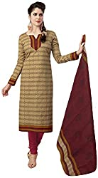 SP Marketplex Women's Cotton Unstitched Dress Materials (Spmsg328, Beige And Maroon)