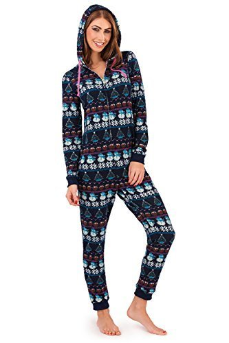 Womens-Loungeable-Boutique-Hooded-Onesie-Fair-Isle-Snowman-Print-All-In-One