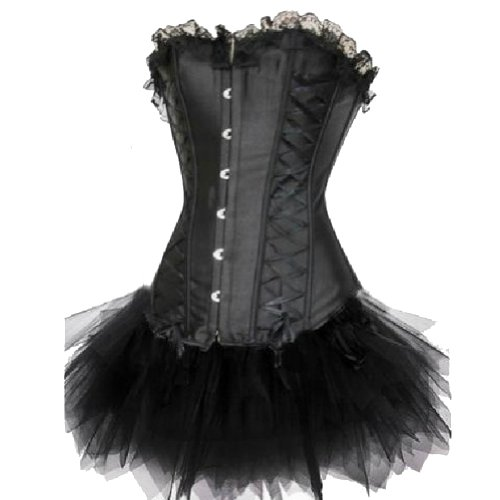 BI.TENCON Black Sexy Vintage Ribbon Burlesque Pin up Corset Dance Costume Tutu