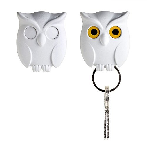 Night Owl Keyring Holder by Qualy Design Studio. White Color. Cool Home Decor. Unusual Wall Decoration. Unique Gift. (Bottle Opener Keychain Disney compare prices)