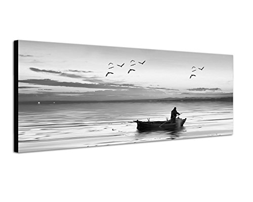 toile photo bateau de p che p cheurs de mer panoramique noir blanc 120 x 40 cm mouettes lumi re. Black Bedroom Furniture Sets. Home Design Ideas