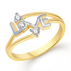 V. K. Jewels Love Ring For Girls Gold And Rhodium Plated Ring For Girls - Fr1146G Size-10 [Vkfr1146G10]