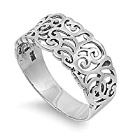 Fine Abstract Artwork Filigree Ring Sterling Silver 925