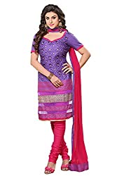 Roohi Purple Cotton Unstitched Dress Material