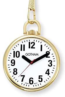 buy Gotham Men'S Gold-Tone Ultra Thin Bold Number Open Face Quartz Pocket Watch # Gwc15033G