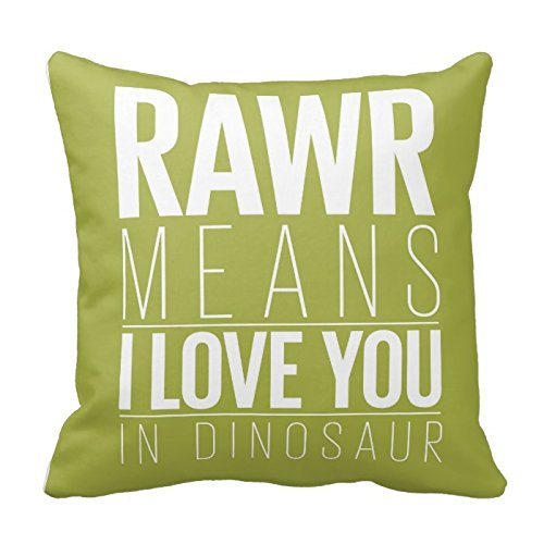 Personalized 18X18 Inch Square Cotton Throw Pillow Case Decor Cushion Covers Dinosaur Rawr Pillowcase In Blue With Grey Chevron
