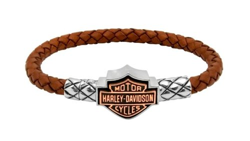 Harley-Davidson® MOD® Men's Copper B&S Cameo Leather Bracelet